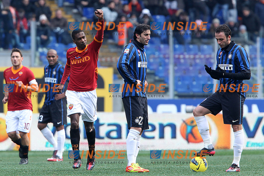 "esultanza Juan Roma..goal celebration..Roma 05/02/2012 Stadio ""Olimpico""..Football / Calcio Serie A 2011/2012..Roma vs Inter..Foto Insidefoto Paolo Nucci"