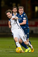 3rd March 2020; Dens Park, Dundee, Scotland; Scottish Championship Football, Dundee FC versus Alloa Athletic; Paul McGowan of Dundee challenges for the ball with Iain Flannigan of Alloa Athletic