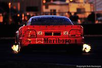 The #65 Roush Racing-Ford Mustang Cobra, driven by Wally Castro, Rolando Falgueras, Manolo Villa, Biagio Parisi and Axel Rivera, races in the 1995 24 Hours of Daytona at Daytona International Speedway in Daytona Beach, Florida, USA.