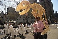(950422-SWR02.jpg) - 22 April 1995 - New York, NY - Earth Day New York. Parade of the Planets. Environmental activists carrying a mock Dinosaur skeleton parade up the Avenue of the Americas.