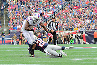 Sunday, October 2, 2016: Buffalo Bills tight end Charles Clay (85) is tackled by New England Patriots cornerback Logan Ryan (26) during the NFL game between the Buffalo Bills and the New England Patriots held at Gillette Stadium in Foxborough Massachusetts. Buffalo defeats New England 16-0. Eric Canha/Cal Sport Media