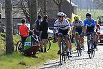 The breakaway group led by Mihkel Raim (EST) Israel Cycling Academy climb Paddestraat during the 2019 E3 Harelbeke Binck Bank Classic 2019 running 203.9km from Harelbeke to Harelbeke, Belgium. 29th March 2019.<br /> Picture: Eoin Clarke | Cyclefile<br /> <br /> All photos usage must carry mandatory copyright credit (© Cyclefile | Eoin Clarke)