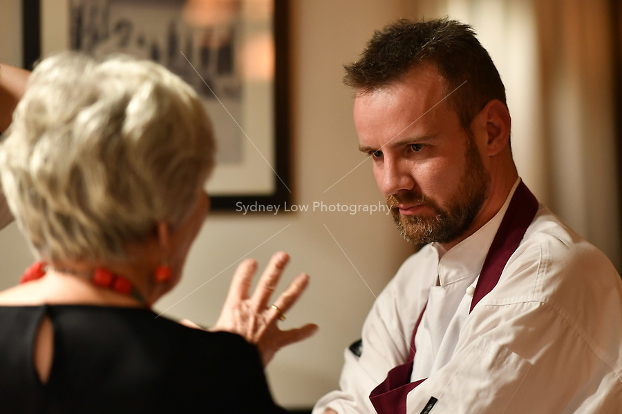 MELBOURNE, 30 June 2017 – Stuart Bell is interviewed by Rita Erlich before a dinner celebrating Philippe Mouchel's 25 years in Australia with six chefs who worked with him in the past at Philippe Restaurant in Melbourne, Australia.