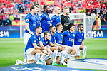 Players of Leicester City line up and pose for photos prior to the 2016-17 UEFA Champions League Quarter-Finals 1st leg match between Atletico de Madrid and Leicester City at the Estadio Vicente Calderon on 12 April 2017 in Madrid, Spain. Photo by Diego Gonzalez Souto / Power Sport Images
