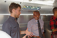 New York, NY, USA - September 26, 2017: Biobus Harlem grand opening ceremony fort the new Airstream mobile lab and teaching facility. Event held at Columbia University,  Zuckerman Institute, located at 3227 Broadway in New York City