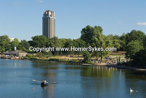 Serpentine Lake, Hyde Park, London Uk Tourists. Serpentine resturant cafe.