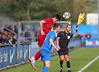 20191023 - Genk: Liverpool's Leyton Stewart is pictured heading the ball and in front of him is Genk's captain Xander Lambrix, during the UEFA Youth League group stages match between KRC Genk Youth and Liverpool FC on October 23, 2019 at KRC Genk Stadium Arena B, Genk, Belgium. PHOTO:  SPORTPIX.BE   SEVIL OKTEM