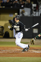 UCF Knights catcher Logan Heiser (23) at bat during the opening game of the season against the Siena Saints on February 13, 2015 at Jay Bergman Field in Orlando, Florida.  UCF defeated Siena 4-1.  (Mike Janes/Four Seam Images)