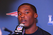 January 29th 2019, Atlanta, Georgia, USA;  New England Patriots wide receiver Phillip Dorsett (13) is interviewed at the New England Patriots Super Bowl LIII Press Conference on January 29, 2019 at the Hyatt Regency Atlanta, in Atlanta GA.