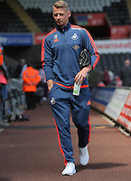 Stephen Kingsley of Swansea City arrives during the Swansea City FC v Manchester City Premier League game at the Liberty Stadium, Swansea, Wales, UK, Sunday 15 May 2016