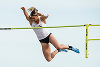 NWA Democrat-Gazette/BEN GOFF @NWABENGOFF<br /> Victoria Hoggard of Arkansas clears the bar at 14 feet 6 and a quarter inches Friday, April 12, 2019, during the women's pole vault at the John McDonnell Invitational at John McDonnell field in Fayetteville. Hoggard won the event with the attempt.