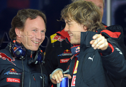 German Sebastian Vettel of Red Bull and team boss Christian Horner during a practice session for the Grand Prix of China at Shanghai International Circuit in Shanghai, China, 16 April 2010. The Grand Prix of China will take place on 18 April 2010.