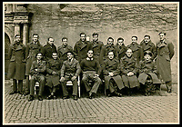 BNPS.co.uk (01202 558833)<br /> Pic: Warwick&Warwick/BNPS<br /> <br /> RAF prisoners at Colditz - Including (Back left) F/Lt Jack Best and (back right) F/Lt  Bill Goldfinch who built the famous 'Colditz Cock' escape glider - Legless RAF S/Ldr Douglas Bader (front centre) and F/Lt Dominic Bruce (front right) later called the 'greatest escaper of WW2'.<br /> <br /> A remarkable archive of photos which provide a glimpse inside the infamous Colditz Castle has come to light.<br /> <br /> The photos show the ingenuity of the Allied POWs who devised ever-bolder ways to escape from the German stronghold during World War Two.<br /> <br /> One image is of a dummy they would hold up to trick the German guards into believing the escaper was still with them during parade head counts. Others reveal the tunnels which were dug using tools smuggled into the 11th century castle in care parcels.<br /> <br /> The photos were taken by the official Colditz photographer Johannes Lange, who was employed by the German Army to take pictures of failed Allied escape attempts. They were then distributed to other POW camps to alert the guards to the methods the inmates were using in their bids for freedom.<br /> <br /> The archive is being sold by a private collector with auctioneer Warwick & Warwick, with an estimate of £1,750.