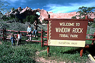 May 6th to 13th, 1985 in Navajo Reserve, AZ. Signage at the entrance of the Navajo Reserve near Window Rock, AZ.