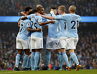 Manchester City v Bournemouth Premier League Manchester City celebrate scoring the opening goal during the Premier League match at the Etihad Stadium, Manchester PUBLICATIONxNOTxINxUK Copyright: xSimonxMoorex FIL-11128-0016  <br /> Premier League 2017/2018 <br /> Foto Imago / Insidefoto
