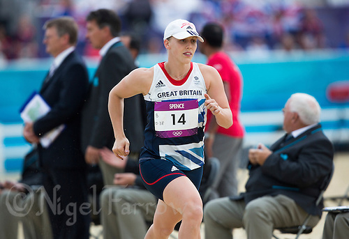 12 AUG 2012 - LONDON, GBR - Mhairi Spence (GBR) of Great Britain begins her first run lap during the women's London 2012 Olympic Games Modern Pentathlon Combined Event in Greenwich Park, Greenwich, London, Great Britain (PHOTO (C) 2012 NIGEL FARROW)