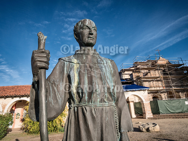 Fa. Serra bronze statue at the front of the Historic Mission San Antonio de Padua, 3rd of the Father Serra Mission, 1771, Monterey County, Calif.<br /> <br /> Scaffolding used during the earthquake retrofit in the fall of 2014