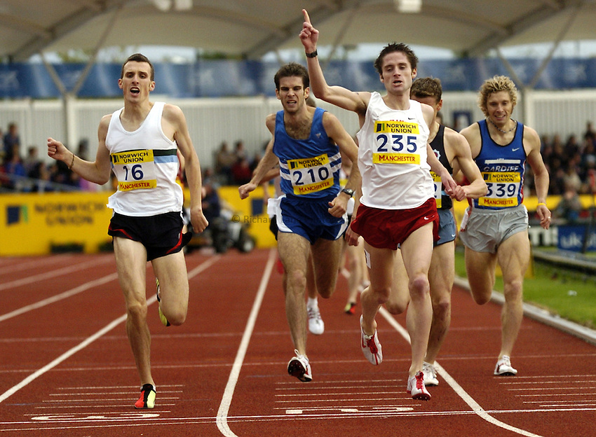 Photo: Richard Lane..Norwich Union Olympic and AAA Championships, Manchester Regional Stadium. 11/07/2004..Chris Mulvaney celebrates victory in the mens 1500m final.