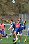 Kampf um den Ball in der Bildmitte v.l. Hoffenheims Ermin Bicakcic (Nr.4), Hoffenheims Kerem Demirbay (Nr.10) und Hoffenheims Lukas Rupp (Nr.7)  beim Training in der Bundesliga der TSG 1899 Hoffenheim.<br /> <br /> Foto &copy; PIX-Sportfotos *** Foto ist honorarpflichtig! *** Auf Anfrage in hoeherer Qualitaet/Aufloesung. Belegexemplar erbeten. Veroeffentlichung ausschliesslich fuer journalistisch-publizistische Zwecke. For editorial use only.