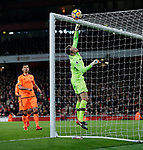 Liverpool's Simon Mignolet nervously pushes the ball onto the bar during the premier league match at the Emirates Stadium, London. Picture date 22nd December 2017. Picture credit should read: David Klein/Sportimage