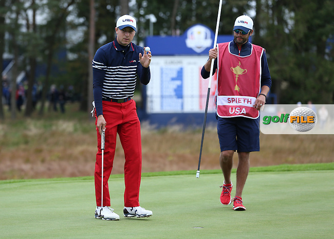 Jordan Spieth (USA) levels the first hole during Sunday's Singles at the 2014 Ryder Cup from Gleneagles, Perthshire, Scotland. Picture:  David Lloyd / www.golffile.ie