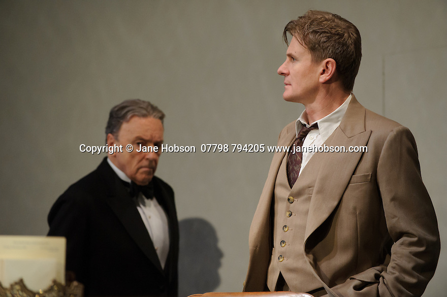 London, UK. 09.11.2015. WASTE, by Harley Granville Barker, directed by Roger Michell, opens at the National Theatre. Picture shows: Michael Elwyn (Cyril Horsham), Charles Edwards (Henry Trebell). Photograph © Jane Hobson.