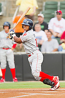 Edgar Duran #19 of the Lakewood BlueClaws follows through on his swing against the Kannapolis Intimidators at Fieldcrest Cannon Stadium on July 16, 2011 in Kannapolis, North Carolina.  The Intimidators defeated the BlueClaws 5-3.   (Brian Westerholt / Four Seam Images)