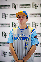 Kyle Anderson (5) of Etiwanda High School in San Bernardino, California during the Baseball Factory All-America Pre-Season Tournament, powered by Under Armour, on January 12, 2018 at Sloan Park Complex in Mesa, Arizona.  (Zachary Lucy/Four Seam Images)