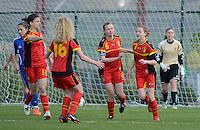 U 16 Belgian red Flames - virginia USA :<br /> <br /> Belgische meisjes feesten na de 1-0 van Julie Veyt (R)<br /> <br /> foto Dirk Vuylsteke / Nikonpro.be