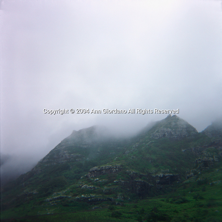 View of Oahu hill landscape with fog
