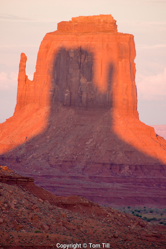 East Mitten at sunset, Monument Valley Tribal Park, Arizona/Utah  Shadow of West Mitten on East Mitten  Navajo Reservation