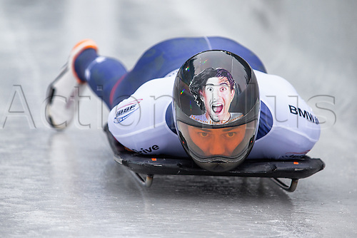 February 24th 2017,  Berchtesgaden - Konigssee, Germany; Action from the Men's Skeleton Runs 1 and 2, Nathan CRUMPTON USA