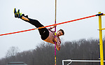 THOMASTON,  CT-040919JS11- Housatonic's Mikael Gudmarsson took first place in the pole vault during their Berkshire League meet with Thomaston Tuesday at Nystrom's Sports Complex in Thomaston.<br />