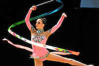 Aliaksandra Narkevich of Belarus performs with ribbon during event finals at World Cup Montreal on January 30, 2011.  (Photo by Tom Theobald).
