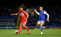 Middlesbrough's Ryan Shotton under pressure from Ipswich Town's Jordan Graham<br /> Photographer Hannah Fountain/CameraSport<br /> <br /> The EFL Sky Bet Championship - Ipswich Town v Middlesbrough - Tuesday 2nd October 2018 - Portman Road - Ipswich<br /> <br /> World Copyright &copy; 2018 CameraSport. All rights reserved. 43 Linden Ave. Countesthorpe. Leicester. England. LE8 5PG - Tel: +44 (0) 116 277 4147 - admin@camerasport.com - www.camerasport.com