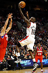 12/26/11--Trail Blazers reserve guard Jamal Crawford drives the lane for a layup in the season-opener with the Philadelphia 76ers at the Rose Garden...Photo by Jaime Valdez. .......................................