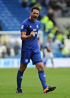 Cardiff City's Sean Morrison applauds the fans at the final whistle <br /> <br /> Photographer Ashley Crowden/CameraSport<br /> <br /> The EFL Sky Bet Championship - Cardiff City v Aston Villa - Saturday August 12th 2017 - Cardiff City Stadium - Cardiff<br /> <br /> World Copyright &copy; 2017 CameraSport. All rights reserved. 43 Linden Ave. Countesthorpe. Leicester. England. LE8 5PG - Tel: +44 (0) 116 277 4147 - admin@camerasport.com - www.camerasport.com