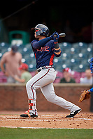 Rome Braves left fielder Jefrey Ramos (22) follows through on a swing during a game against the Lexington Legends on May 23, 2018 at Whitaker Bank Ballpark in Lexington, Kentucky.  Rome defeated Lexington 4-1.  (Mike Janes/Four Seam Images)