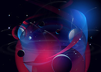 Planets and stars in abstract backgrounds pattern