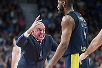 Fenerbahce Dogus coach Zeljko Obradovic talking with Jason Thompson during Turkish Airlines Euroleague match between Real Madrid and Fenerbahce Dogus at Wizink Center in Madrid , Spain. March 02, 2018. (ALTERPHOTOS/Borja B.Hojas) /NortePhoto.com NORTEPHOTOMEXICO