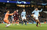 Manchester City's Gabriel Jesus sees his close range volley saved by 1899 Hoffenheim's Oliver Baumann<br /> <br /> Photographer Rich Linley/CameraSport<br /> <br /> UEFA Champions League Group F - Manchester City v TSG 1899 Hoffenheim - Wednesday 12th December 2018 - The Etihad - Manchester<br />  <br /> World Copyright © 2018 CameraSport. All rights reserved. 43 Linden Ave. Countesthorpe. Leicester. England. LE8 5PG - Tel: +44 (0) 116 277 4147 - admin@camerasport.com - www.camerasport.com