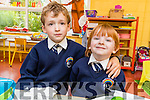Making friends on their first day at Caherleaheen NS, were Junior Infants Tadgh Lynch and Conor Fleming.