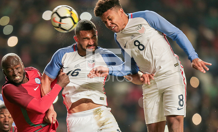 Leiria, Portugal - Tuesday November 14, 2017: Cameron Carter-Vickers, Weston McKennie during an International friendly match between the United States (USA) and Portugal (POR) at Estádio Dr. Magalhães Pessoa.