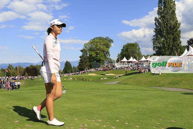 Lydia Ko (NZL) tees off the par3 16th tee during Sunday's Final Round of the LPGA 2015 Evian Championship, held at the Evian Resort Golf Club, Evian les Bains, France. 13th September 2015.<br /> Picture Eoin Clarke | Golffile