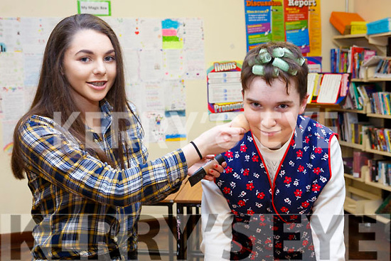 Applying the makeup and getting ready for the Castleisland Presentation Schools Talent show last Thursday, l-r, Caoimhe Horgan (Castleisland) and Eoghan Kenny (Ballymac).