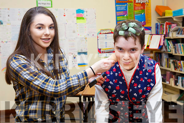 Applying the makeup and getting ready for the Castleisland Presentation Schools Talent show last Thursday, l-r, Caoimhe Horgan (Castleisland) and Eoghan Kenny (Ballymac).