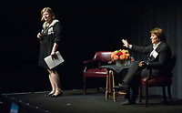 ''How to Navigate the Workplace and Negotiate a Lifestyle'', moderated by Patricia Gillette '73 with the keynote speech by Patricia Sueltz '75. Keck Theater, on Tuesday, September 23, 2008. Also known as the Opt-In event. (Photo by Marc Campos, Occidental College Photographer)