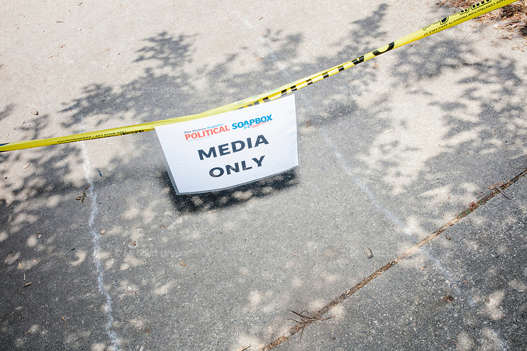 "A sign reads ""Media Only"" near the Political Soapbox at the Iowa State Fair in Des Moines, Iowa, on Tues., Aug. 13, 2019."