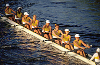 Women rowing team competing in the Head of the Charles Regatta. Cambridge, Massachusetts.