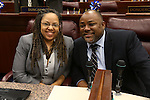Nevada Assembly Democrats Dina Neal and Jason Frierson pose at the Legislative Building, in Carson City, Nev., on Thursday, April 25, 2013. .Photo by Cathleen Allison